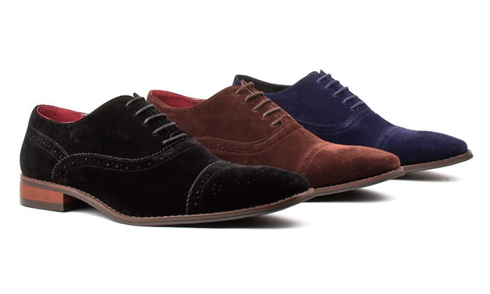 Signature Men's Suede Cap-Toe Dress Shoes