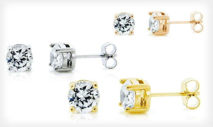 Simulated-Diamond Stud Earrings: 1 or 3 Pairs of Sterling Silver Simulated-Diamond Stud Earrings (Up to 86% Off). Multiple Styles. Free Returns.