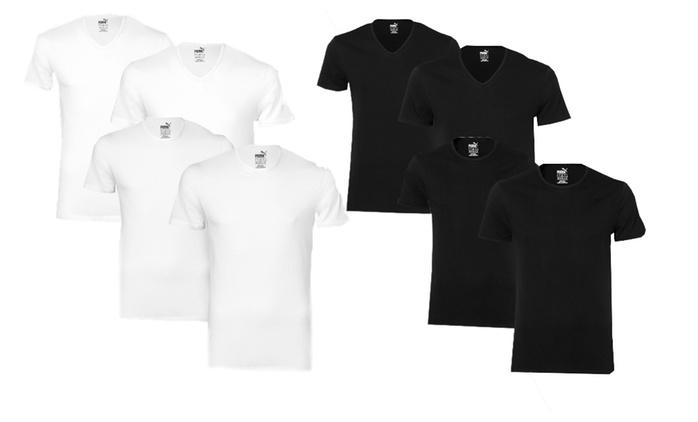 4 oder 8 PUMA T-Shirts in Weiß oder Schwarz mit Rundhalsausschnitt oder V-Ausschnitt
