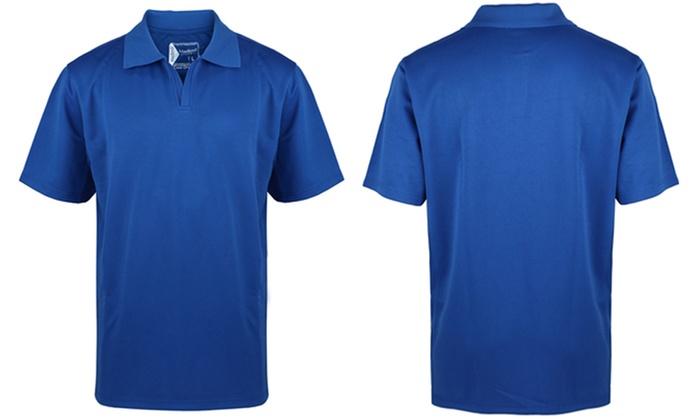 Men 39 s no button active performance polo shirt groupon for No button polo shirts