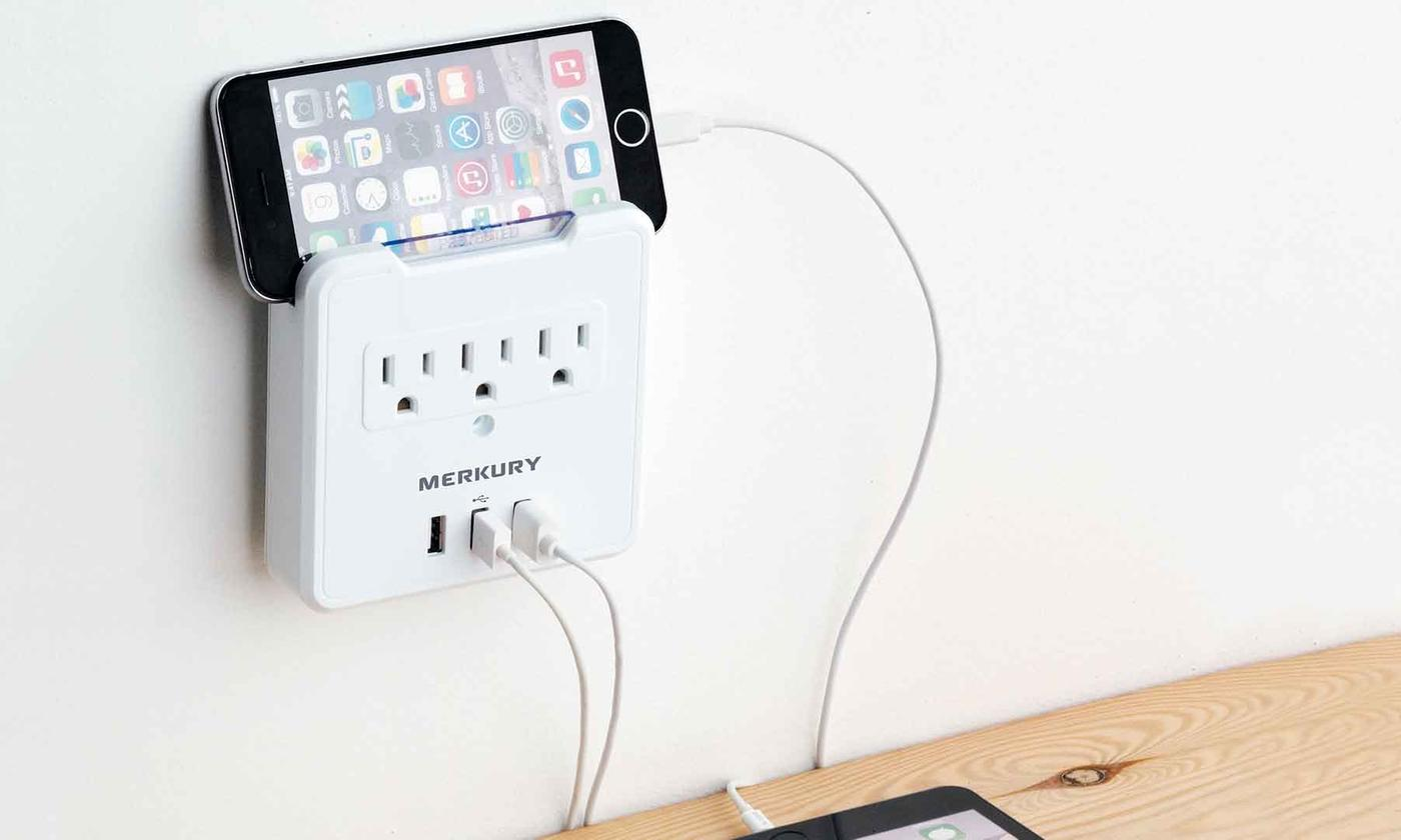 Merkury Innovations 3.1A USB Wall Plate w/ Phone Mount