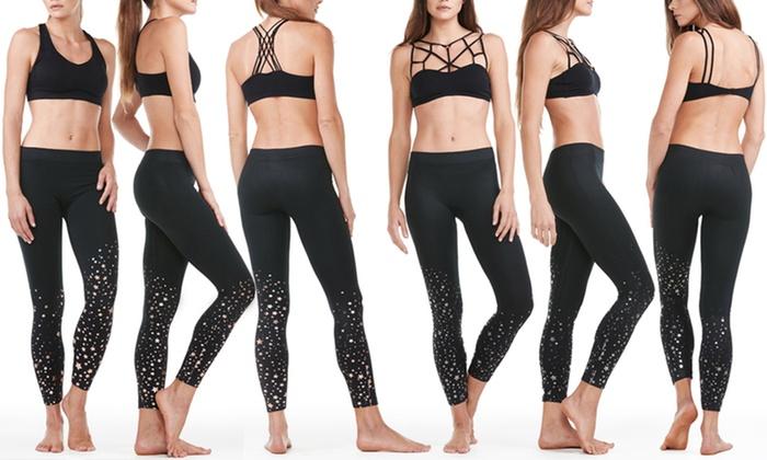 09fc3f6bdd13e Electric Yoga New Year's Star Foil Print Active Leggings | Groupon