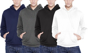 Men's Fleece Cotton-Blend Pullover Hoodie with Dual Pockets