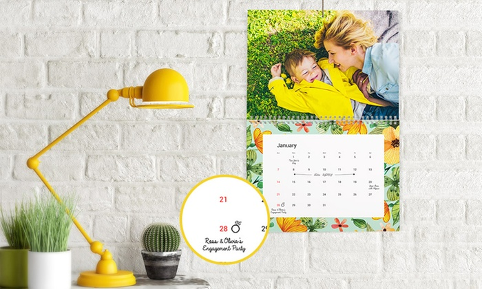 """Up to Five Identical 11"""" x 8"""" or 12'' x 12'' Personalised Wall Calendars from Photobook UK (Up to 79% Off)"""