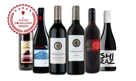 $39 for Six Red Mixed Wines Including Three Bottles from a FiveStar Winery Don't Pay $119