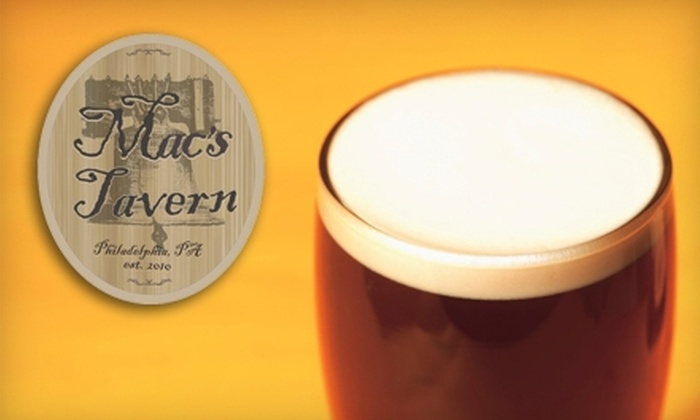 Mac's Tavern - Center City East: $15 for $30 Worth of Beer, Sandwiches, and More at Mac's Tavern