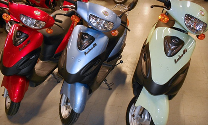 New York Motorcycle - Queens Village: $899 for a Linhai Passport 50 Scooter and Helmet at New York Motorcycle in Queens Village ($1,928 Value)
