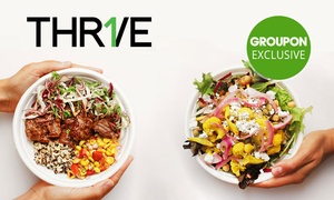 THR1VE: THR1VE signature lunch or breakfast bowl plus bottle of water for $9 - 10 restaurant locations (up to $18.50 value)
