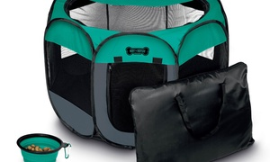 Ruff 'N Ruffus Pets' Playpen with Travel Case and Travel Bowl