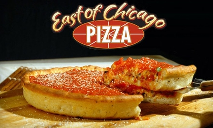 East of Chicago - Multiple Locations: $7 for One Large Specialty Pizza at East Of Chicago Pizza (Up to $15.99 Value)