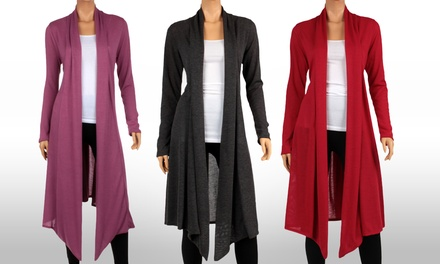 Women's Knee Length Hacci Cardigan