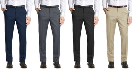 Galaxy by Harvic Men's Belted Slim-Fit Dress Pants - Multiple Inseams