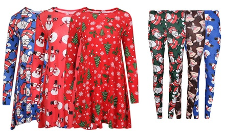 Women's ChristmasThemed Leggings or Swing Dress from £5.99