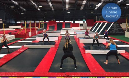 image for One-Hour Indoor Trampoline Session for One ($10), Two ($18) or Eight People ($67) at Mega Air (Up to $128 Value)