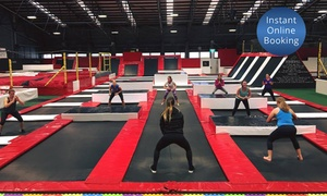 Mega Air: One-Hour Indoor Trampoline Session for One ($10), Two ($18) or Eight People ($67) at Mega Air (Up to $128 Value)
