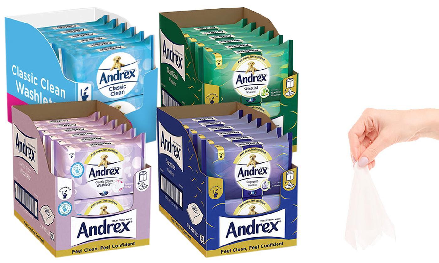 12 or 24 Andrex Washlets Flushable Toilet Tissue Wipes
