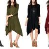 Women's 3/4 Sleeve Asymmetrical Hacci Dress with Pockets