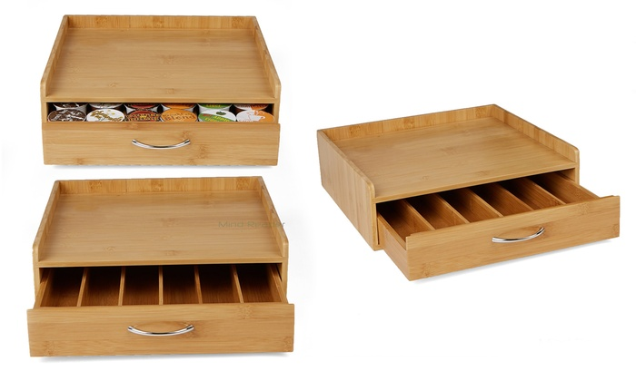Bamboo Coffee Pod Storage Drawer For 36 K Cups