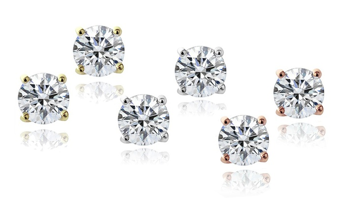 Simulated Diamond Stud Earrings: 6mm Simulated Diamond Stud Earrings. Multiple Finishes Available. Free Returns.
