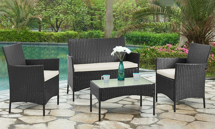 4 piece pe rattan furniture set groupon for Garden furniture deals