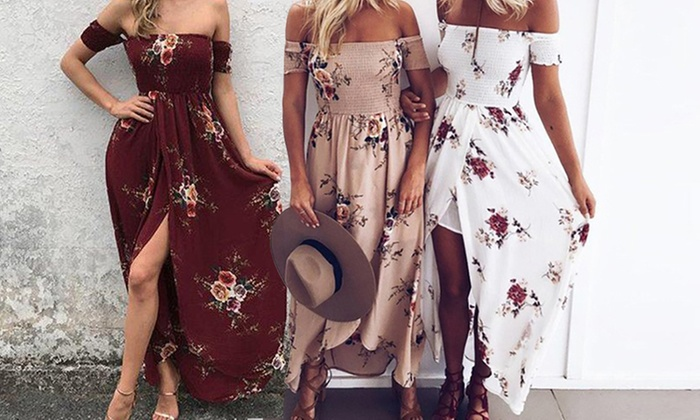 Ever Mercantile Limited: Floral Off-Shoulder Maxi Dress: One ($19) or Two ($29)