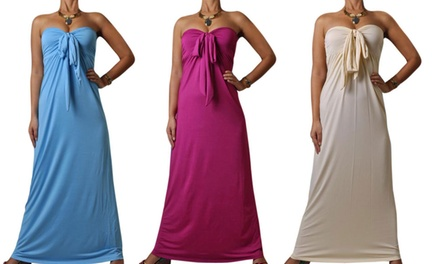 Bow Bandeau Maxi Dress in Choice of Colour and Size for £6.98