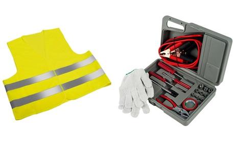 Kit de chaleco reflectante y maletín de emergencias para coche con 30 piezas