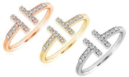 Mazal Diamond bague Promesse en or 10 carats et ornée de 18 diamants, coloris et taille au choix, livraison offerte