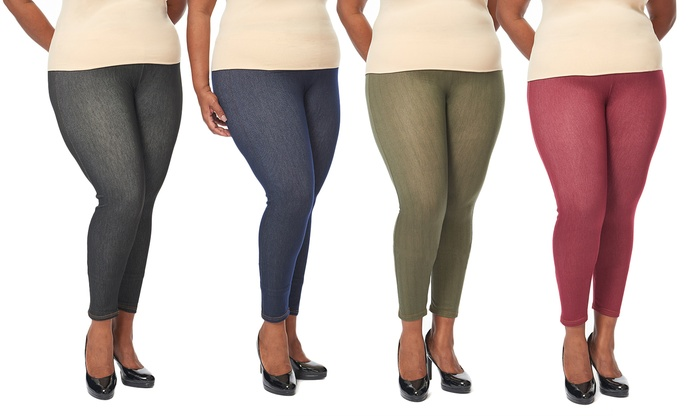 durable modeling temperament shoes outlet on sale Women's Plus-Size Knitted Denim Leggings (4-Pack)
