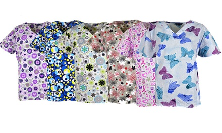 Zikit Women's Plus-Size Assorted Print V-Neck Scrub Tops (3-Pack)