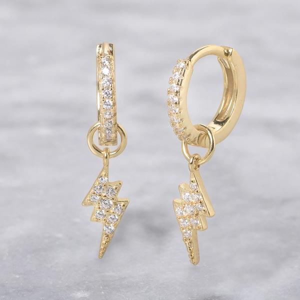 Mothers Gift 18K Gold Over Sterling Silver White Cubic Zirconia Lightning Bolt Single Earring