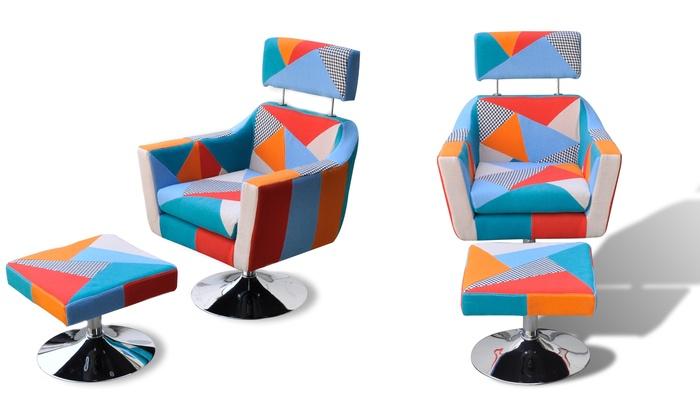 Fauteuil Patchwork Avec Ou Sans Tabouret Groupon - Fauteuil patchwork design