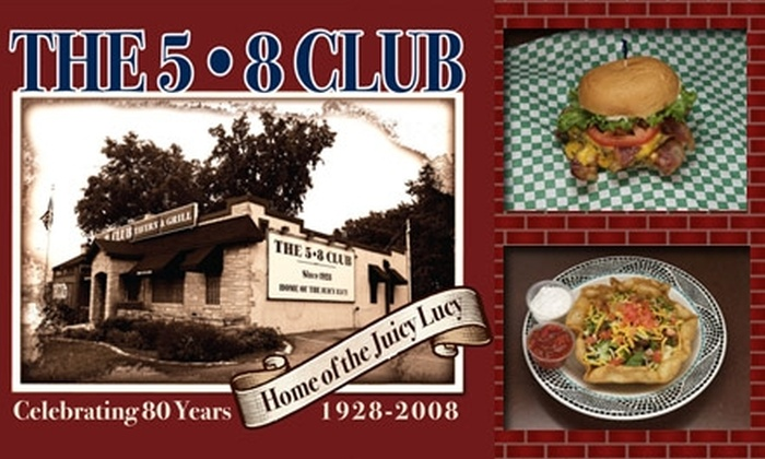 The 5-8 Club - Diamond Lake: $7 for $15 Worth of Juicy Lucys and More at The 5-8 Club