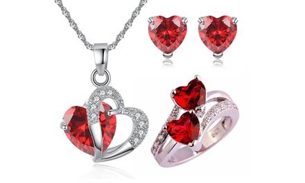 Set con rubini rossi comprendente orecchini, pendente e anello disponibile in 4 misure