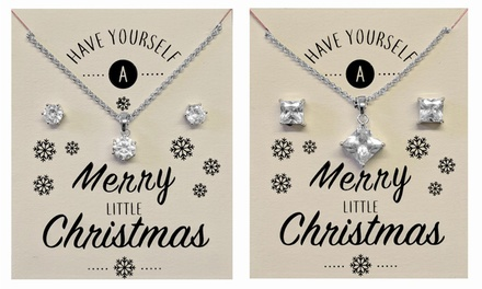 Philip Jones 2ct Round or Square Crystal Solitaire Sets with Christmas Message