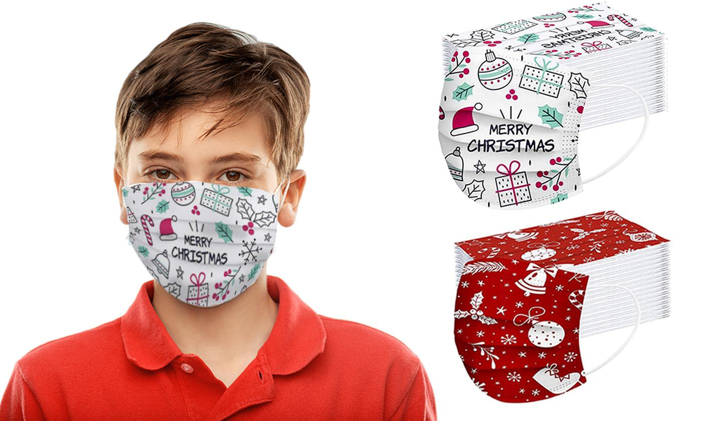 50 or 100 Disposable Kids' 3-Ply Christmas Facemasks