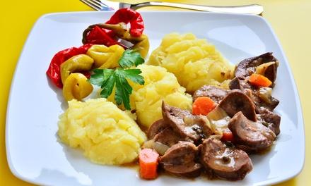 Rognons de veau, 1/4 de vin pour 2 et 2 cafés gourmands pour 2 personnes à 29,90 €au restaurant Le Roi et son Fou