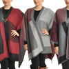 Angelina Women's Color-Block Oversized Poncho with Jeweled Safety Pin