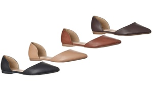 Riverberry Women's Riley Pointed-Toe d'Orsay Open-Side Flats