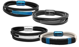 Steeltime Men's Stainless Steel and Leather Bracelets
