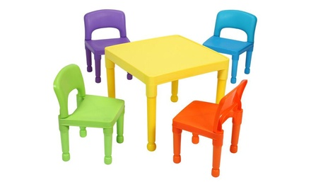 Table Et 4 Chaises Multicolores Groupon Shopping