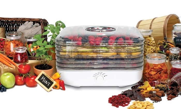 Ronco 5-Tray EZ-Store Turbo Dehydrator with Leather and Herb Screens: Ronco 5-Tray EZ-Store Turbo Dehydrator with Leather and Herb Screens