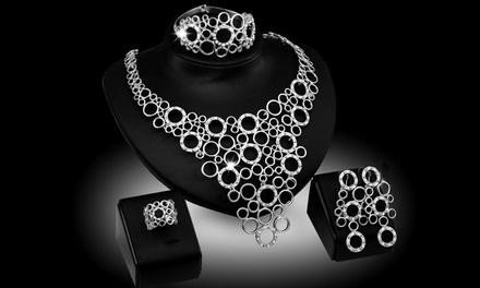 4 teiliges Samba Schmuckstück Set verziert mit Kristallen von Swarovski® in Gold oder Silber