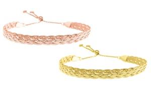 Verona Sterling Silver Lariat Bracelet in 18K Yellow Gold or Rose Gold