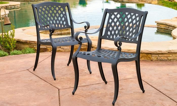 Henrietta Outdoor Cast Aluminum Dining Chairs Set (2 Pack) ...