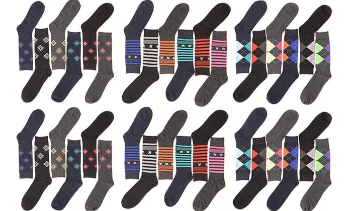 Men's Printed Cotton Dress Socks (12-Pairs)