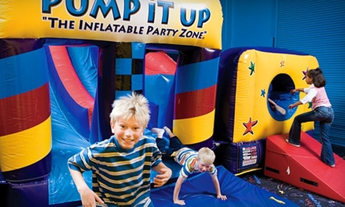 Pump It Up: The Inflatable Party Zone - Multiple Locations: $10 for Three Pop-In Playtime Sessions at Pump It Up ($24 Value). Four Locations Available.