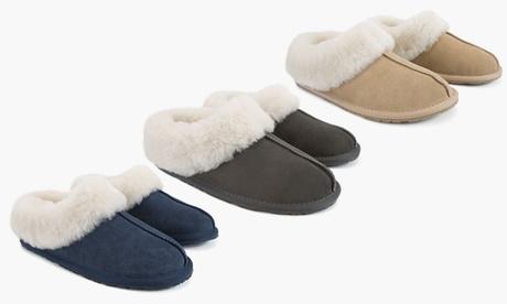 Pantofole classiche foderate in camoscio e pelle di pecora Ozlana disponibili in...