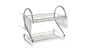 Chef Buddy 2-Tier Chrome Dish Rack with Cup and Utensil Holder