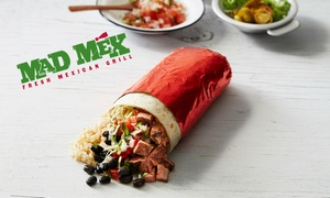 Mad Mex Joondalup and Baldivis: Burrito + Bottle of Water for One ($8) or Two People ($16) at Mad Mex, Joondalup or Baldivis (Up to $29.80 Value)